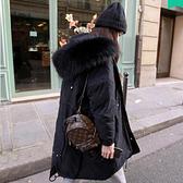 【藍色巴黎 】 大毛領連帽拉鍊舖棉防風保暖禦寒寬鬆中長版外套 大衣 【28332 】