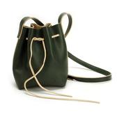 真皮側背包-綠色抽繩牛皮水桶包女肩背包73vd17【巴黎精品】