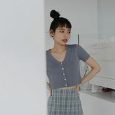 Queen Shop【01012450】V領開襟針織短版上衣 八色售*現+預*