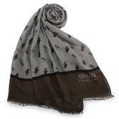 ARMANI COLLEZIONI 滿版千鳥紋幾何綴飾披肩圍巾(咖啡色)102809-1