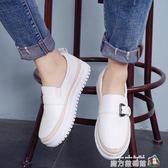 小白鞋子春季新款厚底一腳蹬女鞋韓版百搭懶人鞋樂福鞋單鞋夏 魔方數碼館