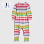 Gap嬰兒 棉質撞色條紋針織包屁衣 636318-彩色條紋