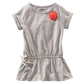 OshKosh短袖上衣 灰色小紅花短袖長板T恤 4號 (Final sale)