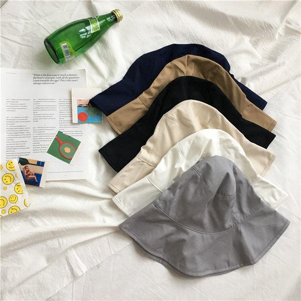 [協貿國際]小清新純色沙灘遮陽帽 漁夫帽可折疊戶外防曬帽1入