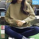 【V2581】shiny藍格子-原宿風.百搭純色圓領寬鬆長袖毛衣上衣