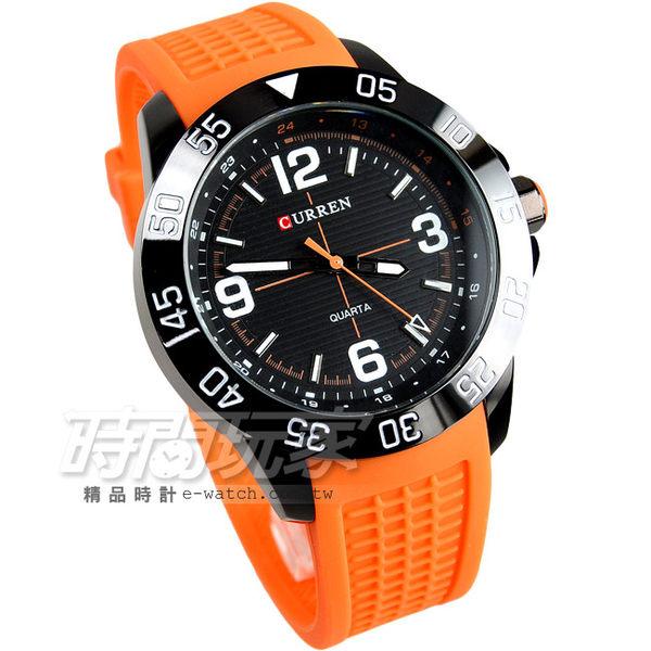 CURREN 賽車潮男時尚腕錶 男錶 大錶盤 飛行錶 學生錶 數字錶 賽車錶 造型錶 橡膠錶帶 CU8181IP橘