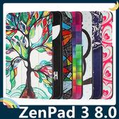 ASUS ZenPad 3 8.0 Z581KL 彩繪多折保護套 側翻皮套 卡通塗鴉 三折支架 超薄簡約 平板套 保護殼