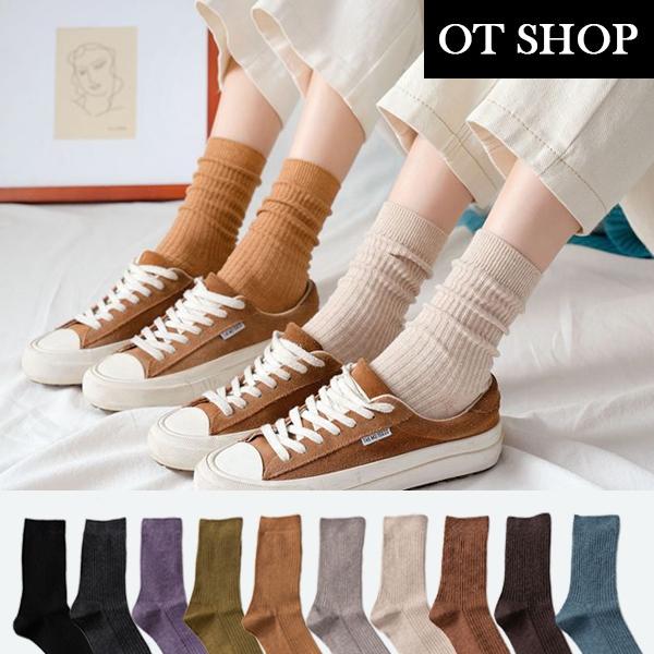 OT SHOP[現貨]襪子 中筒襪 運動襪 棉質 素色坑條紋 百搭學院風 黑/深灰/紫/軍綠/卡橘/可可/米 M1087