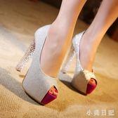 奢華氣質超高跟性感亮片銀色婚鞋新娘鞋14公分粗跟15CM單鞋魚嘴女 qf11419【小美日記】