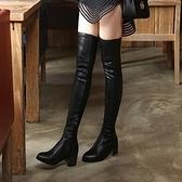 長靴-時尚性感瘦腿低跟舒適真皮女過膝靴4色71ab39[巴黎精品]