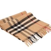 BURBERRY 經典格紋喀什米爾羊毛圍巾(駝色)