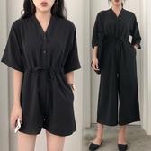 2019新款韓版polo領短袖連體褲寬鬆大碼胖mm200斤連體短褲女