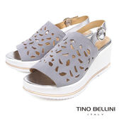 Tino Bellini 歐洲進口真皮寬帶雕花楔型涼鞋 _ 灰 A83033 歐洲進口款