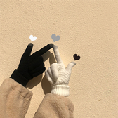 五指觸屏手套 女冬情侶季防寒保暖針織加厚拼色【聚寶屋】