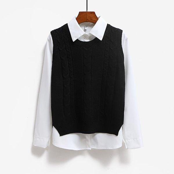 秋裝新款女裝學院風寬鬆百搭針織衫背心毛衣馬甲坎肩短款外套 免運