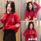紅色可愛毛衣女寬松慵懶風長款麋鹿圓領針織衫圣誕節加厚外套節日 創意新品