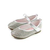 小女生鞋 娃娃鞋 銀色 水鑽 中童 童鞋 82625 no158 15.5~19.5cm