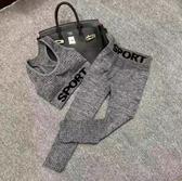 新款歐美健身套裝字母背心七分褲跑步運動兩件套修身瑜伽服女 【免運】