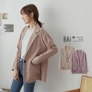 純色薄料單釦翻領西裝外套-BAi白媽媽【310267】