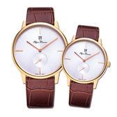 Olym Pianus奧柏表 簡約風尚小秒針時尚對錶-玫瑰金/33+40mm