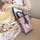 手提包 女包新款迷你小方包時尚鎖扣盒子包撞色箱子包單肩斜挎手提包