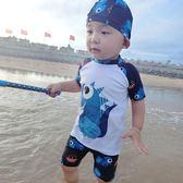 韓兒童泳衣男孩中小童男童分體速幹防曬游泳套裝泳褲學生溫泉泳裝 露露日記