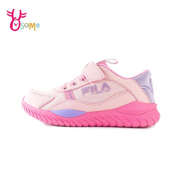 FILA童鞋 女童運動鞋 輕量慢跑鞋 運動鞋 跑步鞋 魔鬼氈運動鞋 大童 康特杯 R7680#粉紅◆奧森