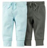 Carters包屁褲  條紋綠色包屁長褲2件組 12M