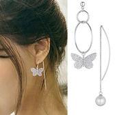 Quenby 925純銀 優雅不對稱蝴蝶珍珠垂吊耳環/耳針