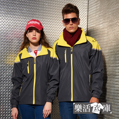【AC1042】情侶簡約機能拼接休閒連帽外套 (灰黃)●樂活衣庫