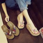 花朵外穿沙灘鞋女夏新款涼拖厚底防滑人字拖