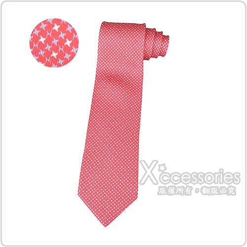 HERMES愛馬仕7 PIED DE H經典緹花LOGO忍者飛鏢設計蠶絲領帶(紅)