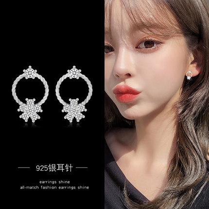 韓版簡約清新花瓣耳環女925銀針日系甜美個性耳釘時尚潮耳墜