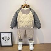 男童套裝 小童棉衣套裝2019新款童裝男童兒童冬裝加絨棉服兒童秋冬兩件套潮 【快速出貨】