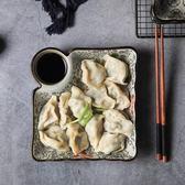 日式釉下彩陶瓷餐具方形餃子盤帶醋碟創意涼菜盤子家用菜盤碟子洛麗的雜貨鋪