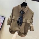 卡其色超仙的洋氣長袖雪紡衫女早秋2020新款寬鬆設計感小眾襯衫潮「時尚彩紅屋」