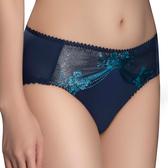 思薇爾-山茶花神系列M-3XL蕾絲刺繡中腰三角內褲(星燦藍)