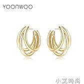韓國氣質網紅純銀針三圈耳環2020年新款潮耳釘圓圈耳飾女高級大氣 小艾新品
