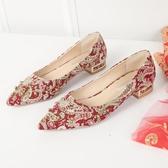 低跟鞋 婚鞋女2019新款尖頭低跟鉚釘鞋復古粗跟新娘鞋百搭婚禮紅色秀禾鞋
