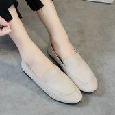 真皮低跟鞋 圓頭 透氣 耐磨 平跟鞋 低幫鞋/2色-標準碼-夢想家-0717