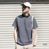 夏季條紋POLO衫男寬鬆男短袖T恤翻領情侶裝【聚物優品】