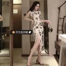 夜店女裝性感夜店改良式長款開叉修身旗袍洋裝韓版夏季新款潮女港味 朵拉朵