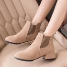 短靴 馬丁靴女年春秋季英倫風粗跟單靴百搭高跟鞋切爾西短靴子 晶彩 99免運
