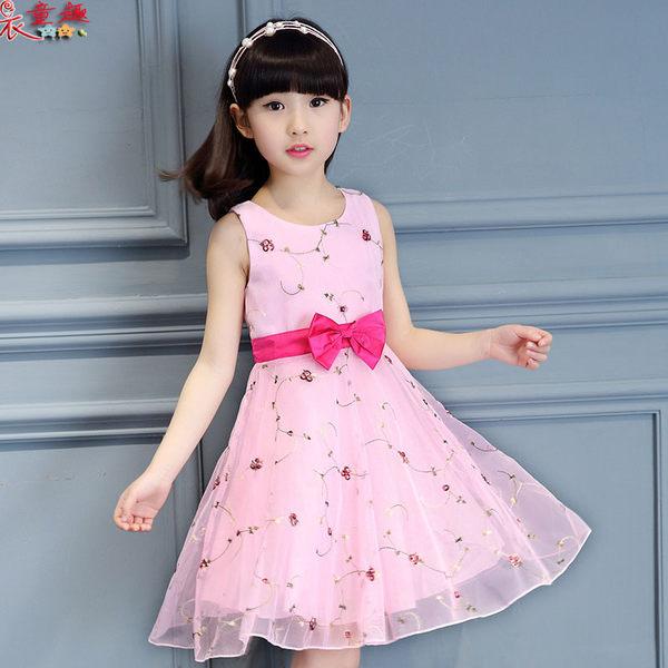 衣童趣 ♥中大女童 氣質款 連身洋裝 紡紗蝴蝶結 甜美洋裝 正式場合必備 畢業典禮 女童洋裝