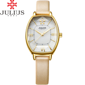 JULIUS 聚利時 櫻花初綻典雅皮錶帶腕錶-淺金色/25x37mm 【JA-920B】