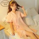 睡袍女夏韓版短袖家居服可愛公主純棉睡裙日系甜美和服少女浴袍夏晴天時尚