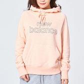 New Balance 女 粉橘 連帽大學T 經典系列 NB LOGO 長袖上衣 衛衣 帽T AWT81551AGR