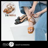 粗跟涼鞋 歐美復古全真皮一字繞帶涼鞋 黑色 棕色 mo.oh(歐美鞋款)