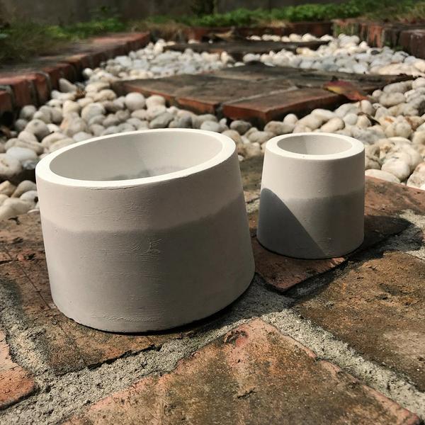(BEAGLE) 雙色圓錐型創意水泥花盆(大) 多肉水泥花器/仙人掌水泥花盆/水泥植栽/水泥器
