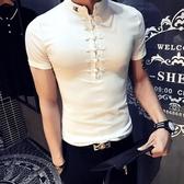 唐裝 夏季男裝V領T恤男短袖緊身社會青年精神小伙潮衣服 - 618熱銷